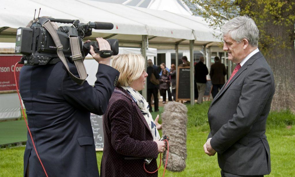 Liz and Graham filming an interview