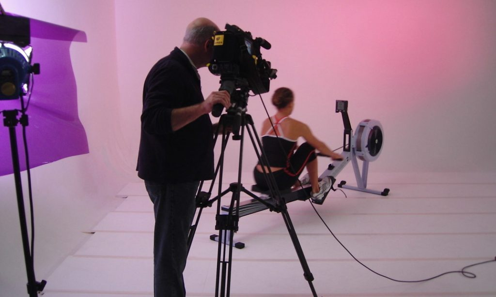 Hubcaps filming a fitness film
